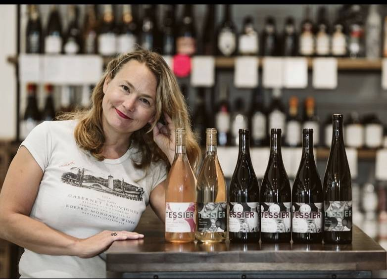 Kristie Tacey and her wine. Tessier Wine Line up
